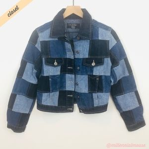 [Outer Edge] Mixed Denim Patchwork Jean Jacket